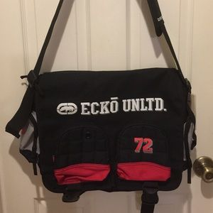 Ecko Unltd Black Messenger Satchel Bag Sturdy